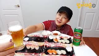 47 모듬초밥, 신라면, 설빙애플망고빙수 먹방, kor…