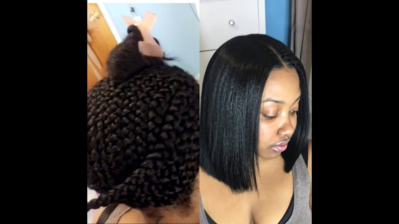 Blunt Cut Bob Sew In Using Clippers Minimal Leave Out Youtube