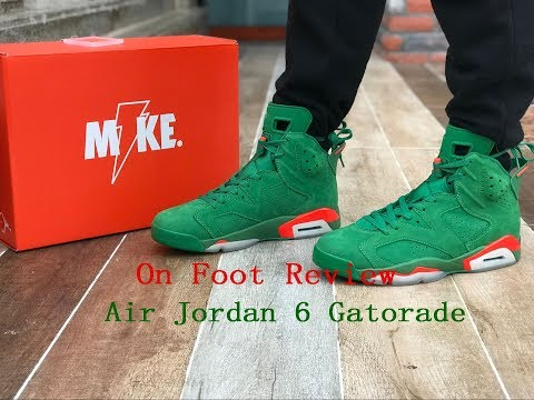 the latest 9d83b 1bed2 Air Jordan 6 Gatorade Green On Foot Review - YouTube