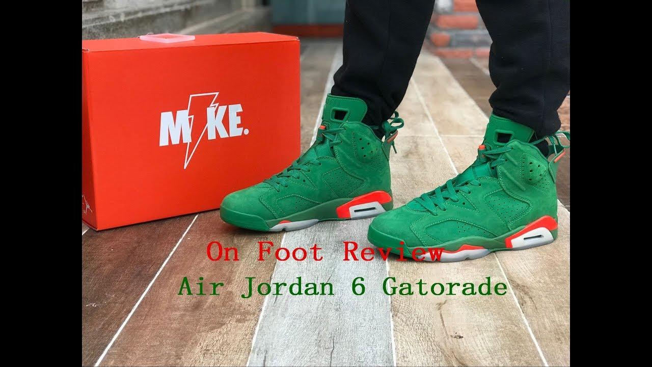 pretty nice 283e5 f73c2 Air Jordan 6 Gatorade Green On Foot Review