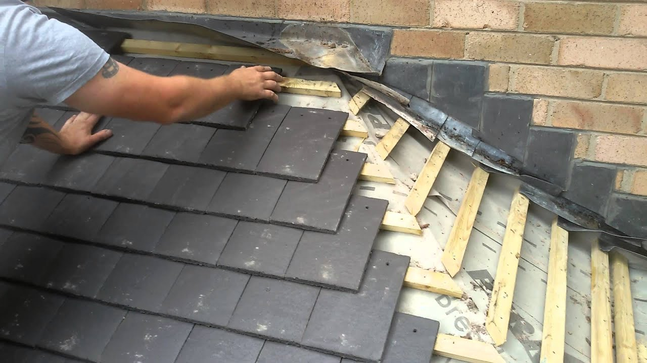 How to Tile a porch roof in slate grey - YouTube