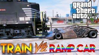 ឡានក្បាលអាចូកប៉ះរថភ្លើង - Ramp Car VS Train (I Bet 99%)