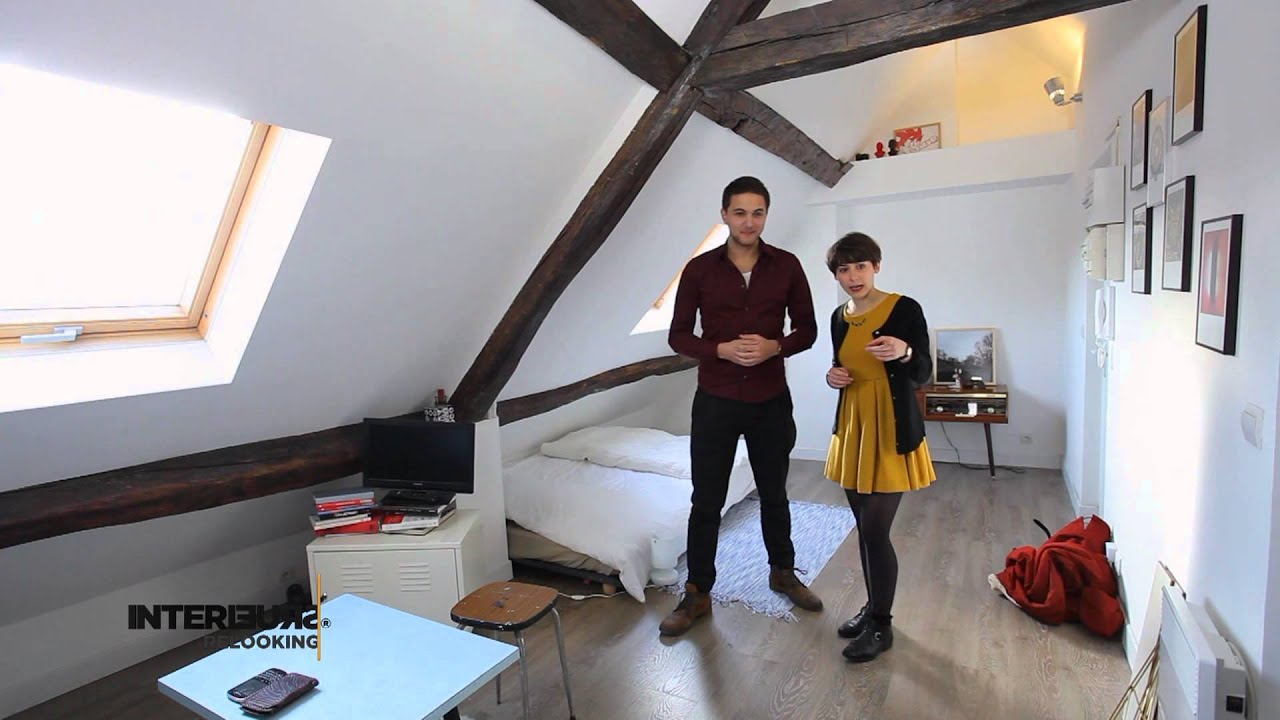 Relooking un studio vintage sous les toits youtube for Amenagement studette