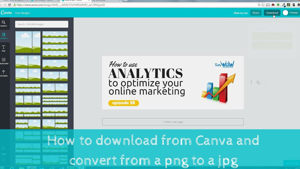 How to download an image from Canva and convert the image from a png to a  jpg PC