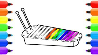 How to Draw Xylophone | Coloring Xylophone| Kids Learn Drawing | Art Colors for Children