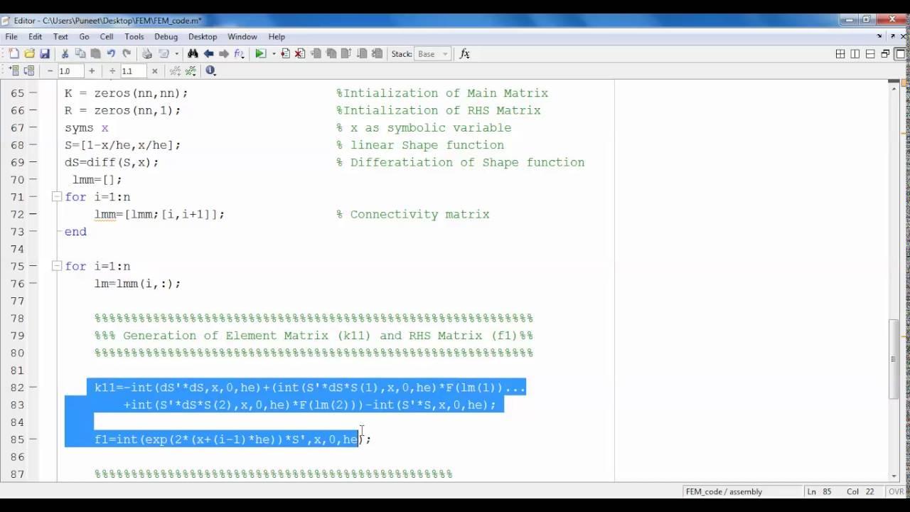 Finite Element MATLAB code for Nonlinear 1D BVP: Lecture-9