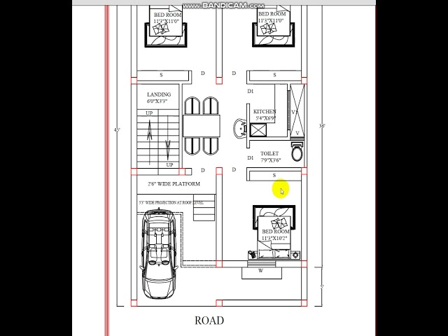 PLOT SIZE 250 X 450(GROUND FLOOR PLAN-3--BHK) WITH CAR PARKING AREA