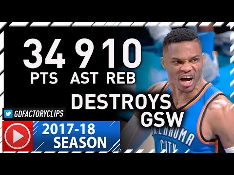Russell Westbrook INSANE Full Highlights vs Warriors (2017.11.22) - 34 Pts, 10 Reb, 9 Ast!