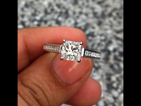 1 35 carats GIA Certified Princess Solitaire and Side Diamonds