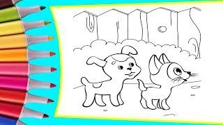 РАСКРАСКИ! Раскрашиваем картинки для детей из мультфильмов Котенок Гав, с другом собачкой