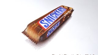 How to Draw a Chocolate Snickers Bar With Color Pencils - With a 3D Effect
