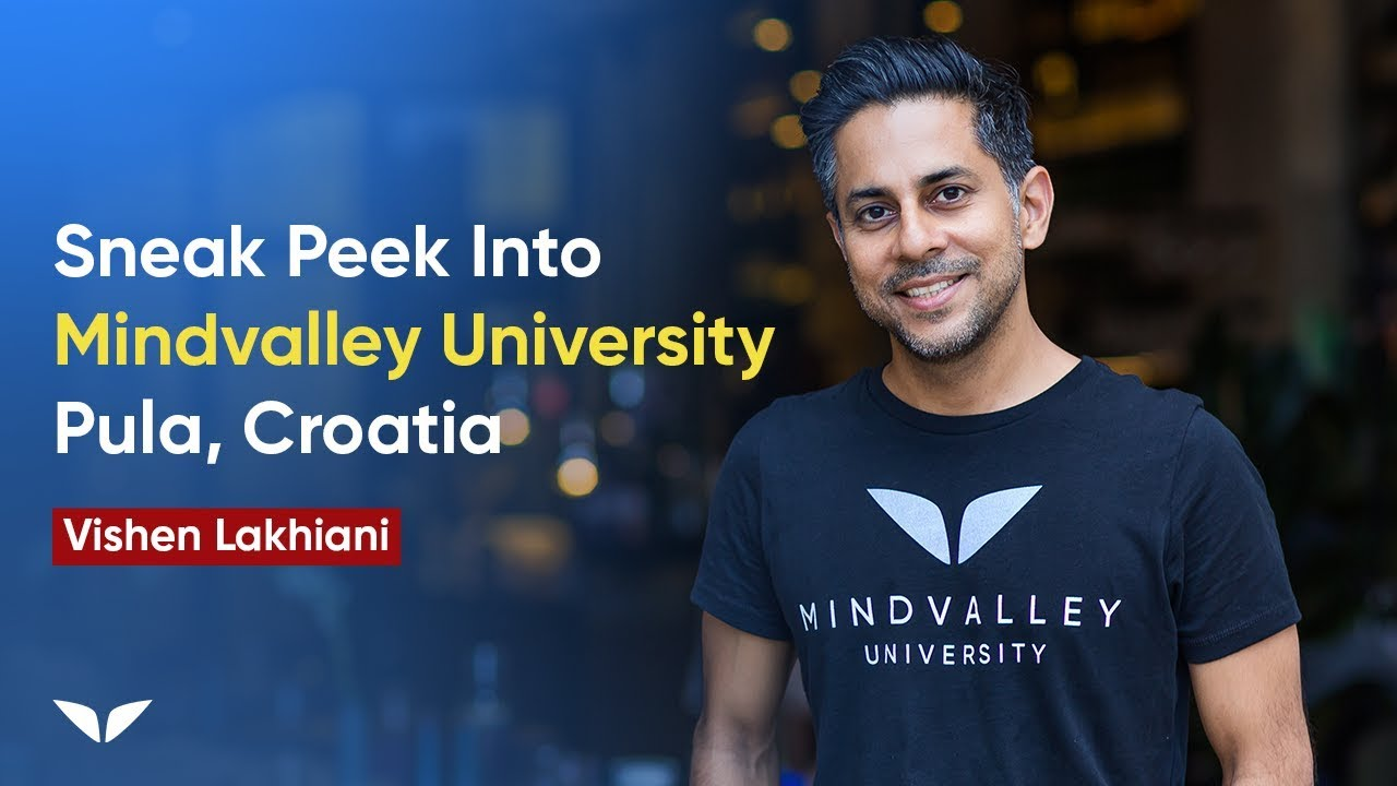 A banner with Mindvalley founder Vishen Lakhiani promoting a sneak peek into Mindvalley University.
