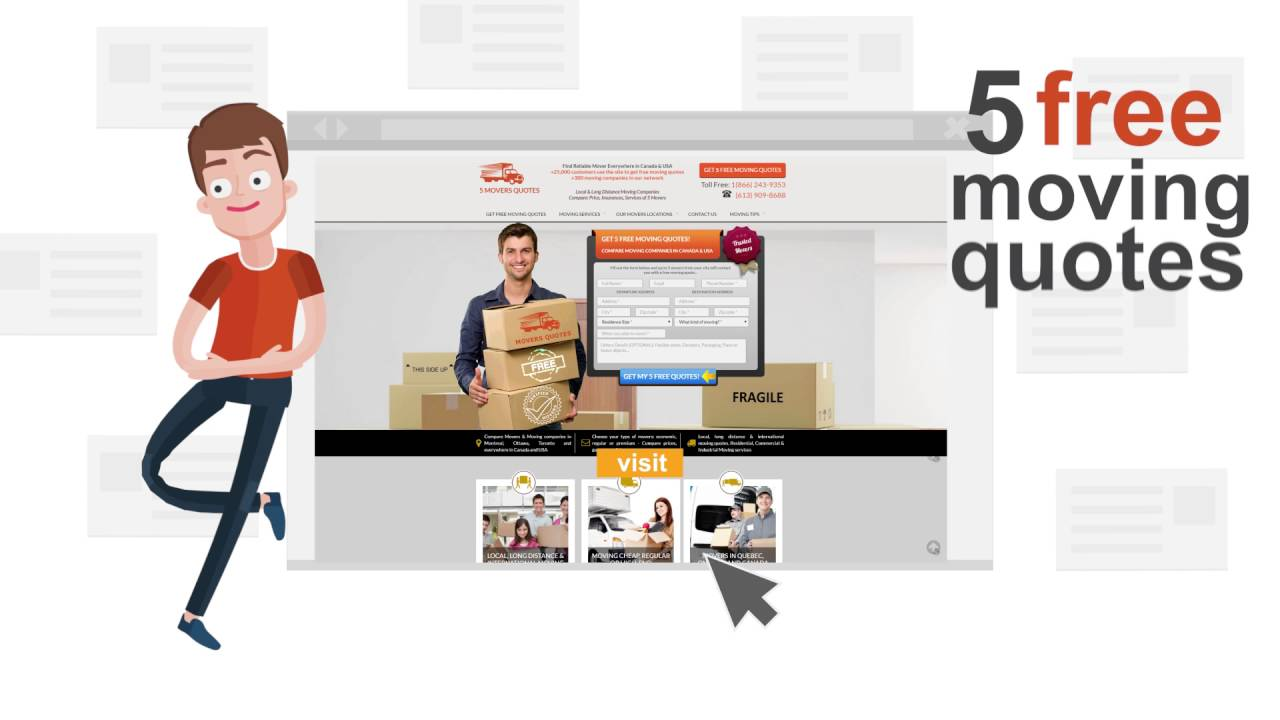 Free Moving Quotes Get 5 Free Movers Quotes To Find Moving Company Cost  Youtube
