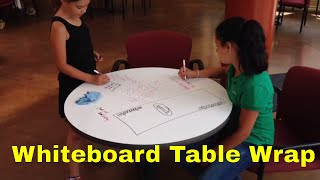 Whiteboard vinyl table wrap