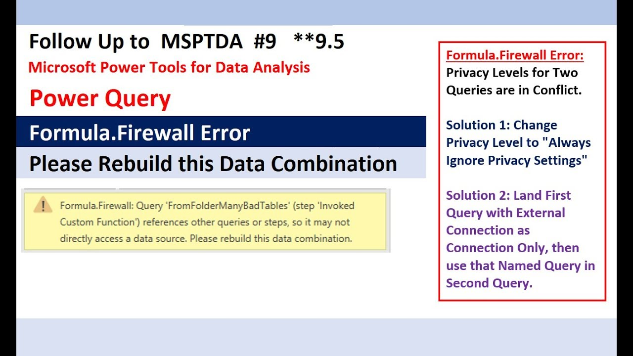 Formula Firewall Error in Power Query & Power BI: Rebuild This Data  Combination Solved (MSPTDA 9 5)