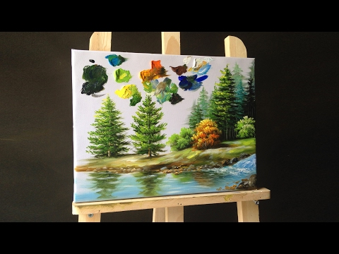 How to paint pine trees in acrylics & Making your own paint brushes