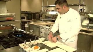 Seared Scallops, Orange Semolina Gnocchi, Balsamic Dressing.flv