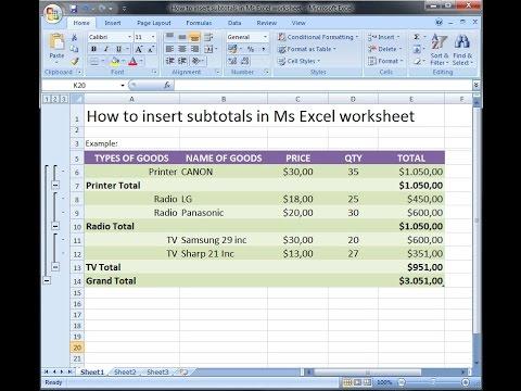 Worksheet Excel Training Worksheet microsoft excel training how to insert subtotals in ms worksheet 1