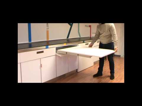 Atim Lunch - Pull out drawer table - YouTube