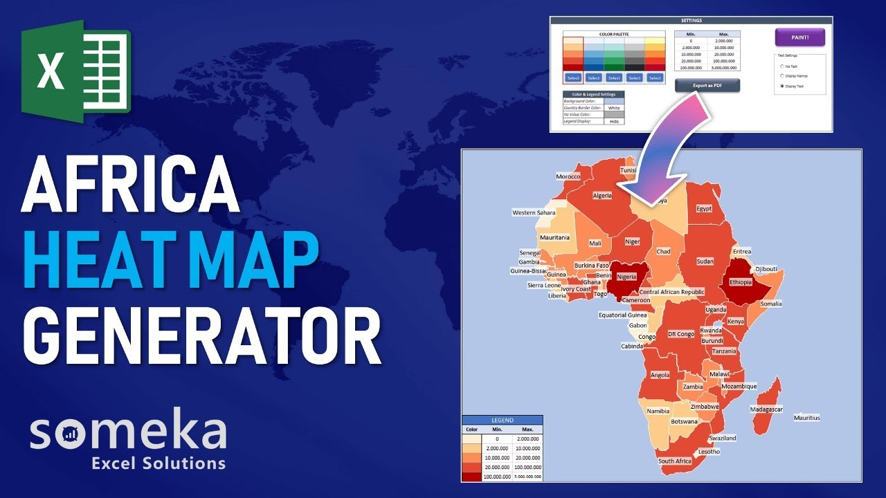 Africa Heat Map Excel Template - Automatic Country Coloring
