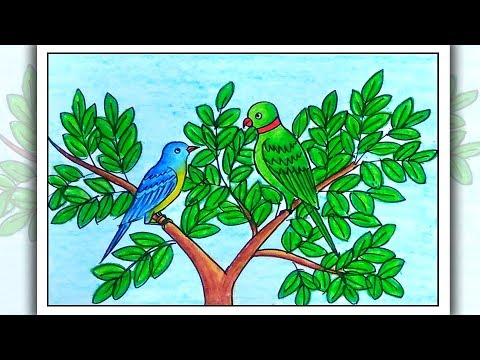 How To Draw Birds Sitting On Branch | Birds Drawing For Beginners