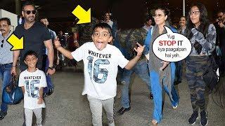 Kajol & Husband Ajay Devgan Get EMBARRASSED Of Son Yug Devgn's STUPID Tantrums In Public
