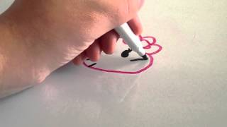 How to draw a simple Hello Kitty on a dry erase board (white board)