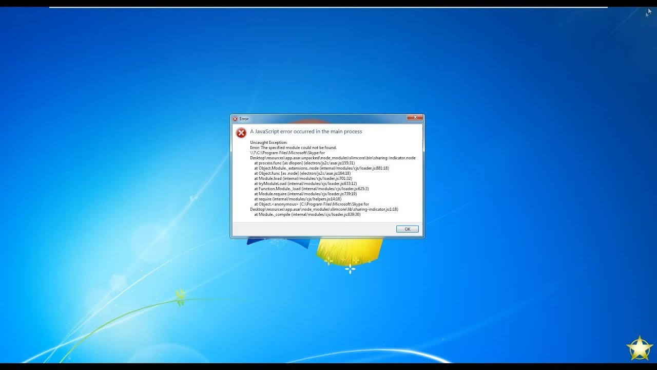 "Sửa lỗi Skype ""A JavaScript error occurred in the main process"""