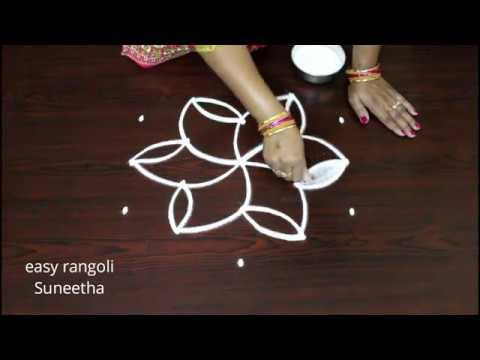 Latest  Kolam Designs With 5 Dots ||  Easy Rangoli Muggulu || Simple N New Designs For Beginners