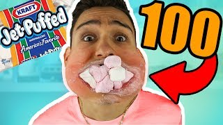 i can fit 100 marshmallows in my mouth! thumbnail