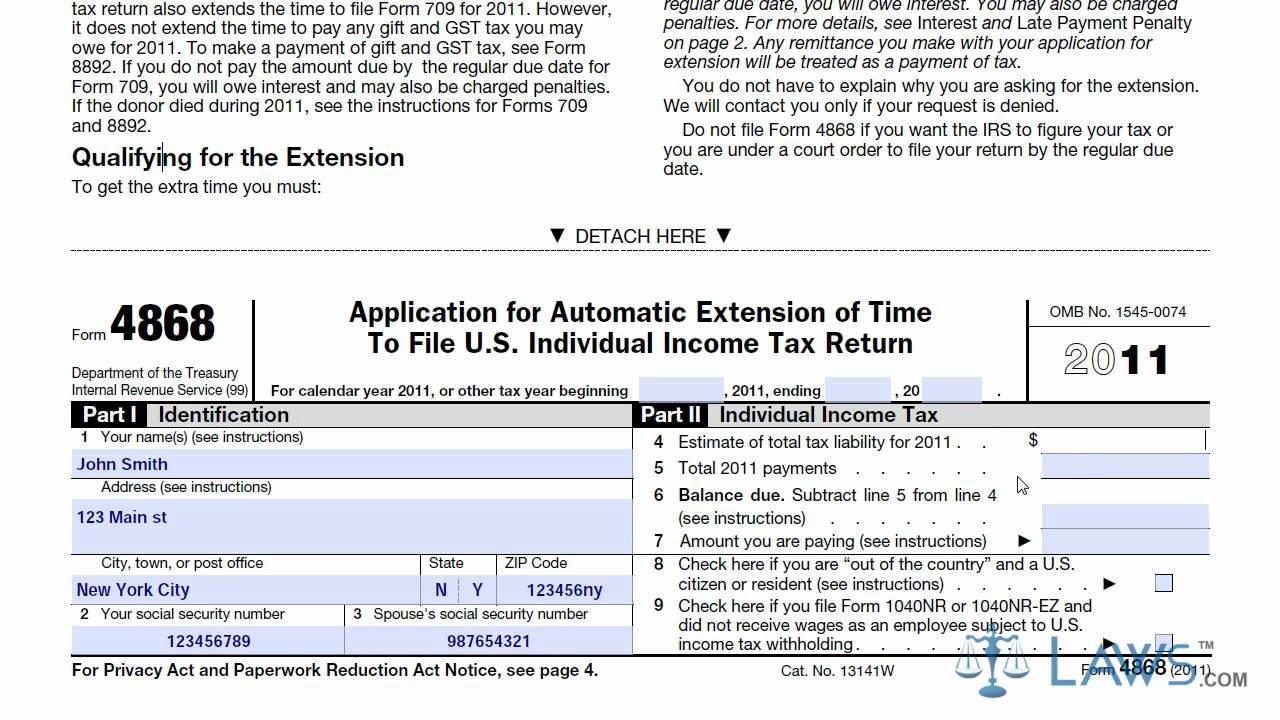 Learn How To Fill The Form 4868 Application For Extension Of Time To File  U.S. Income Tax Return   YouTube