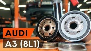 Kā nomainīt Eļļas filtrs AUDI A3 (8L1) - tiešsaistes bezmaksas video