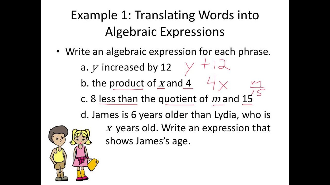 worksheet Translate Algebraic Expressions lesson 17 translating between words and algebraic expressions expressions