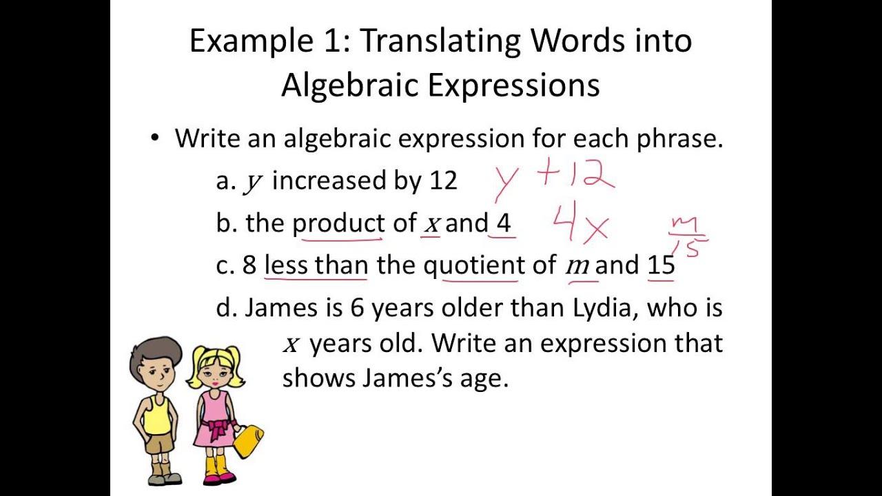 Translating Verbal Phrases Into Algebraic Equations