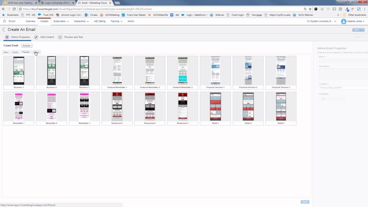 eComm Upgrade | New User Training, Marketing Cloud | University of