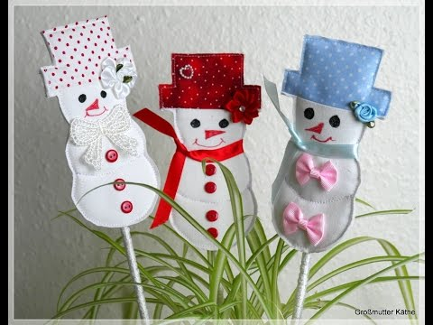 Käthes Nähstunde DIY Winterdeko Schneemann Blumenstecker - YouTube