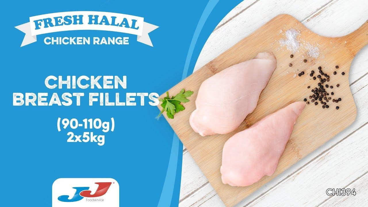 JJ Fresh Halal Chicken Breast Fillets(Calibrated) (90g-110g) 2x5kg (10kg)