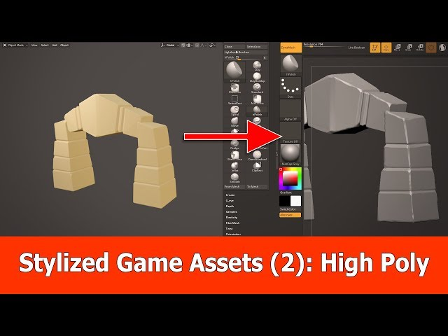 Stylized Game Assets (2) : Export Blender 2.8 to Zbrush