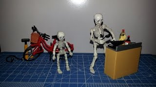 Re-ment Pose Giant + Baby Skeleton Figure + Kitchen And Bicycle Set Review