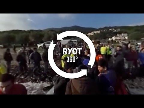 Refugees Crossing Mediterranean Land in Greece: 360°Video