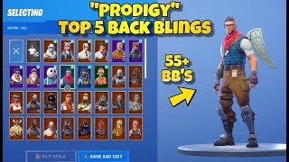 "NEW ""PRODIGY"" SKIN Showcased With 55+ BACK BLINGS! - Fortnite: TOP 5 BACK BLINGS ON PRODIGY SKIN!"