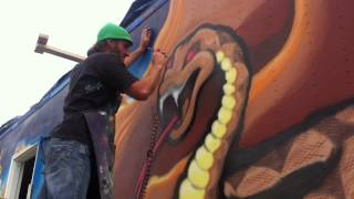 Drew Brophy Paints A 53' Flaming Pig Mural on a Tractor Trailer in Salt Lake City, Utah