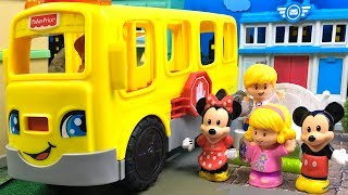 WHEELS ON THE BUS GO ROUND AND ROUND - PRESCHOOL RHYME WITH BUSES