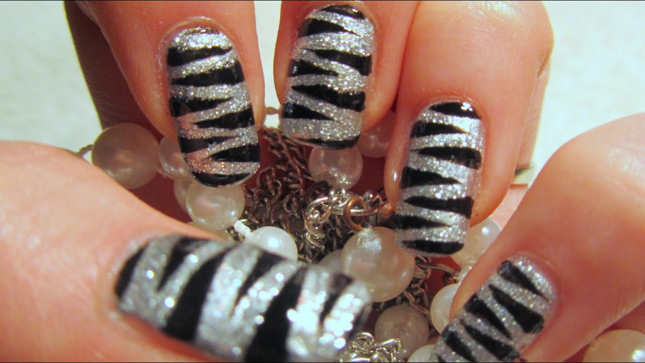 New Years 2011 Silver Glitter Tiger Print Design Nail Art Tutorial ...