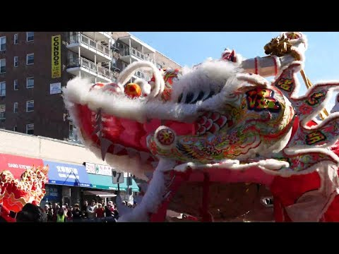 ⁴ᴷ Flushing, Queens, NYC Chinatown Chinese Lunar New Year 2018 Full Parade 法拉盛新年遊行(全)