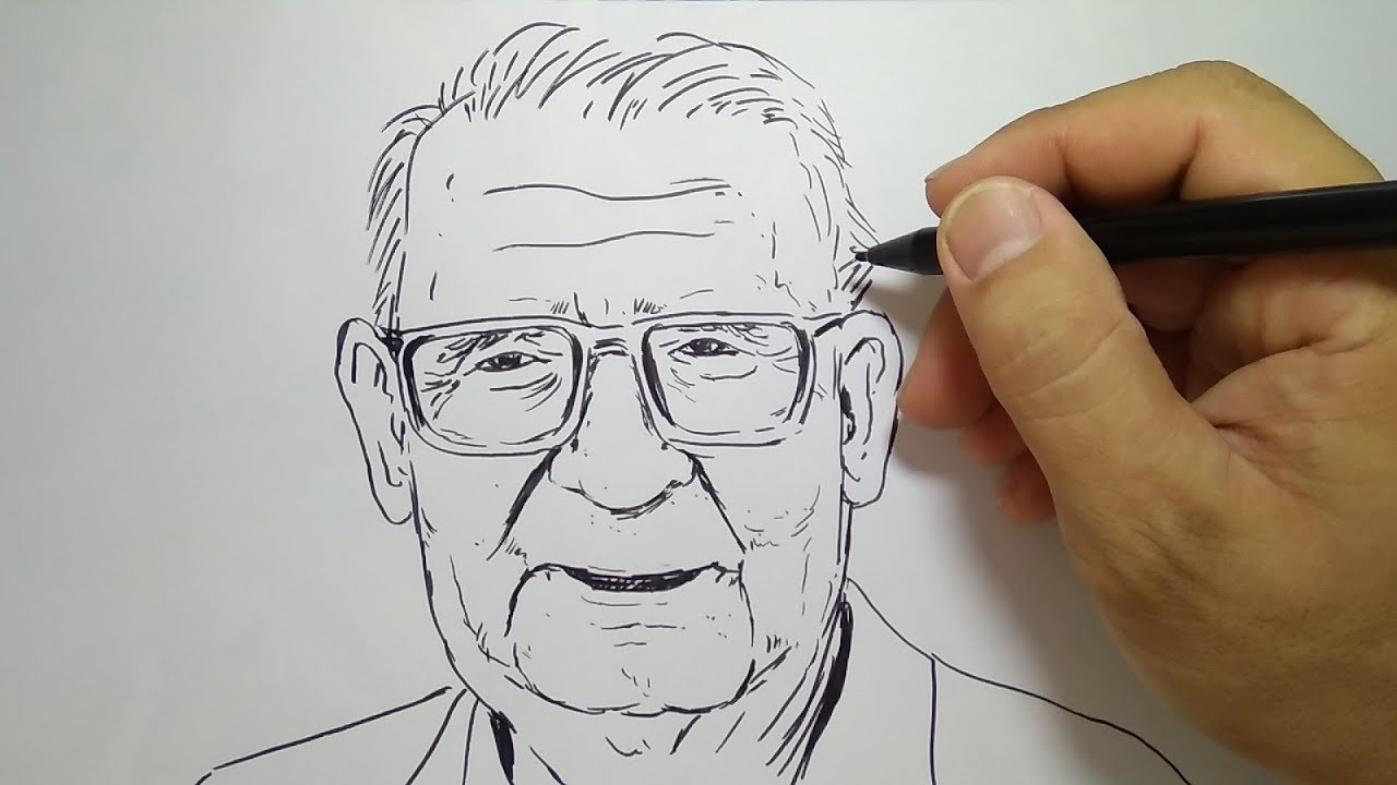 Cara Menggambar Orang Tua How To Draw Old Man Youtube