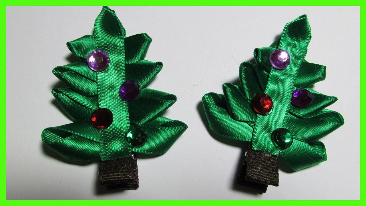 DIY - How to make Christmas Hair Bow Clips No.2 - Christmas Tree ...