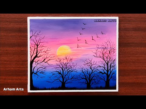Sunrise Landscape Painting || Step by Step Painting Tutorial for Beginners || Acrylic Painting #14
