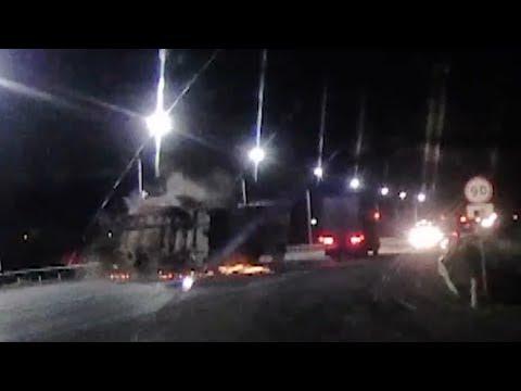 Прицеп-фургон оторвался от МАЗа и убил встречный КАМАЗ. Real Video