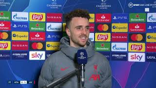 Diogo Jota reacts after hat-trick in Liverpool's 5-0 win over Atalanta